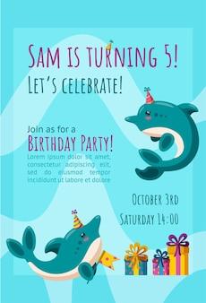 귀여운 작은 돌고래가 있는 생일 초대 카드 선물이 있는 기성품 초대 디자인
