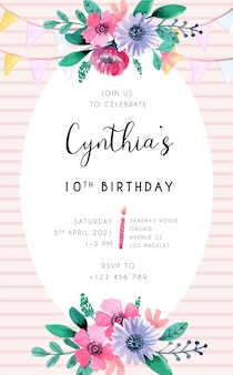 Birthday invitation card with pink floral element and stripes backgroud