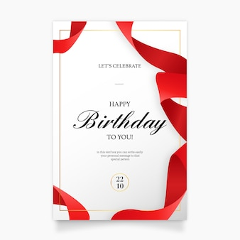 Birthday Invitation Card with Red Ribbon