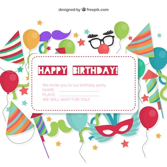 Birthday Invitation Card Vector Free Download