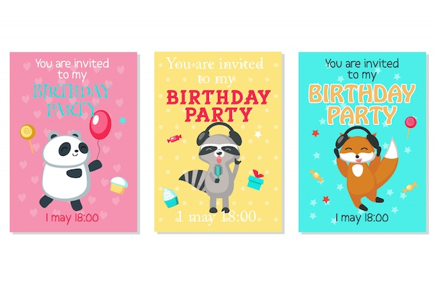 Birthday invitation cards with cute animals