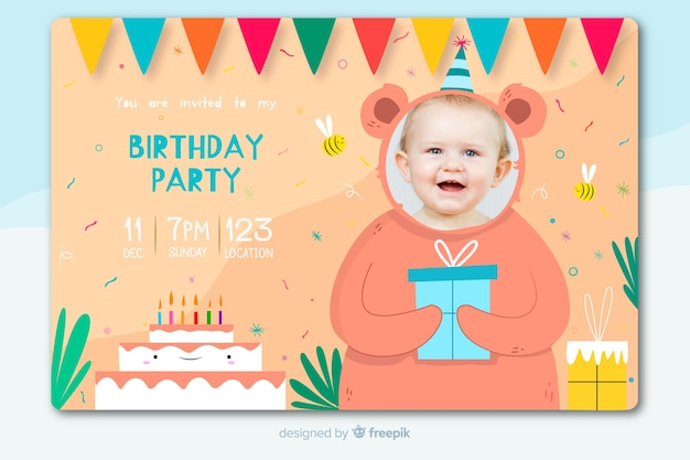 Birthday invitation for children template