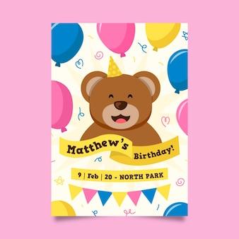 Invito di compleanno per il concetto di modello per bambini