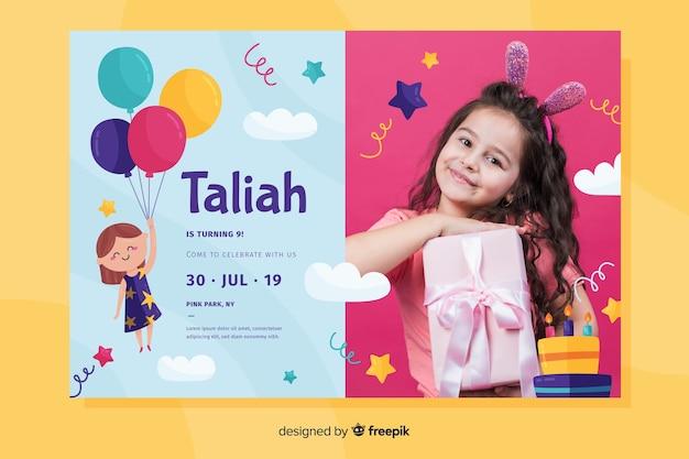 Birthday invitation concept with photo