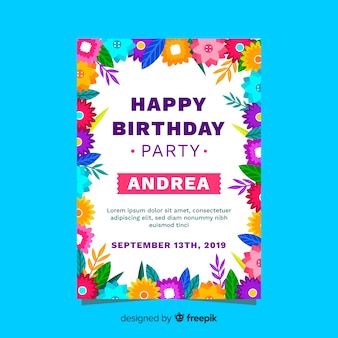 Birthday invitation design with floral theme