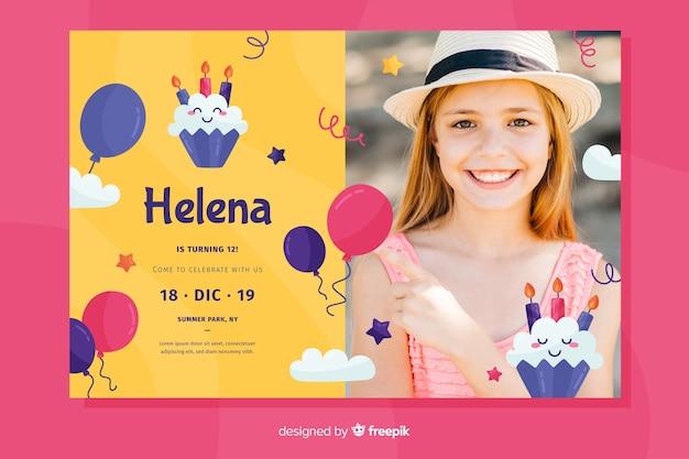 Disegno dell'invito di compleanno con foto