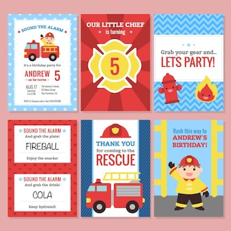 Birthday invitation, firefighter theme