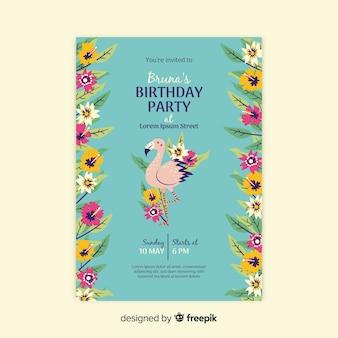 Birthday invitation floral template