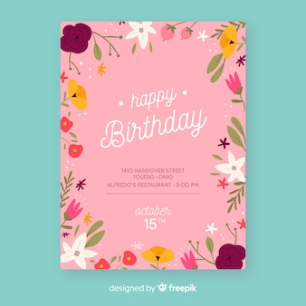 Birthday invitation floral template