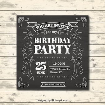칠판 효과에 생일 초대