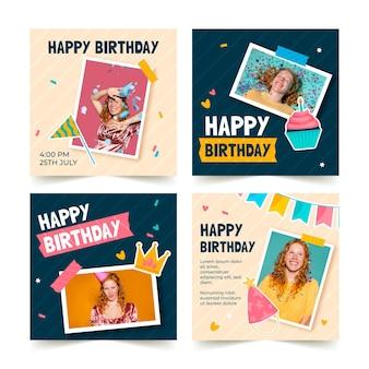 Collezione di post di instagram di invito di compleanno