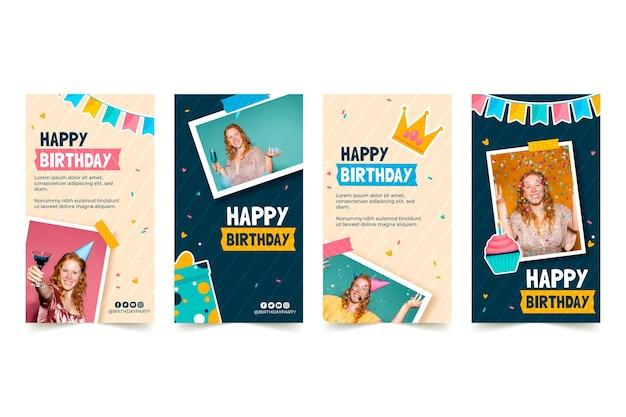 Collezione di storie di instagram di invito di compleanno