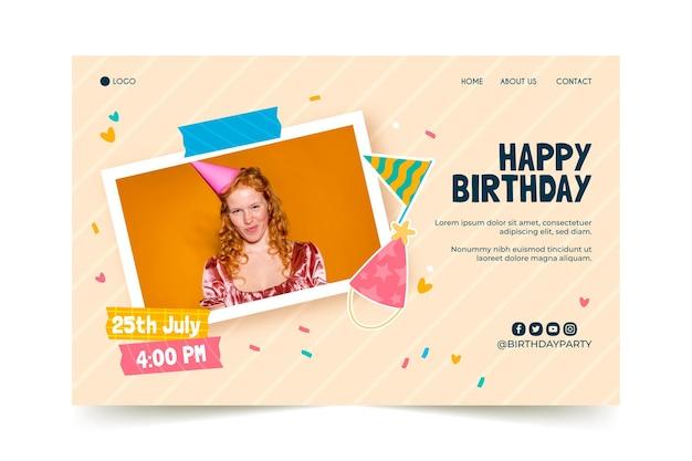 Pagina di destinazione dell'invito di compleanno