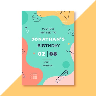 Birthday invitation memphis design