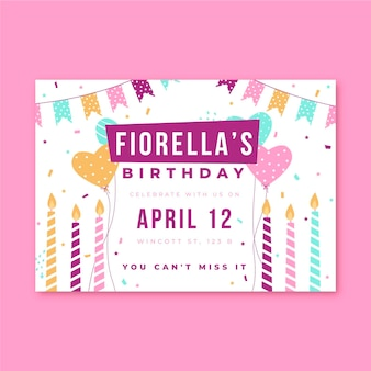 Birthday invitation party candles and confetti