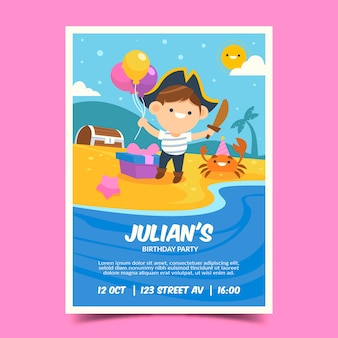 Birthday invitation template for children