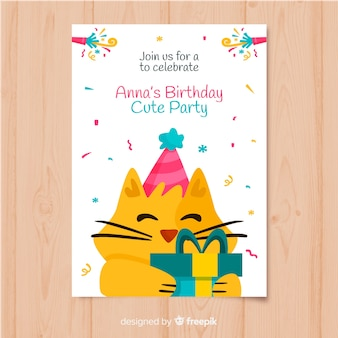 Birthday invitation template in flat style