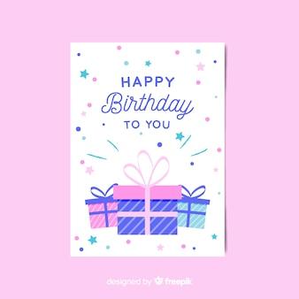 Birthday invitation template in flat style