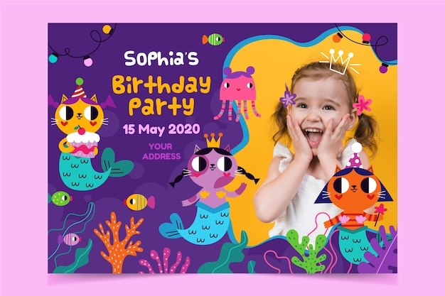 Birthday invitation template for girl with photo