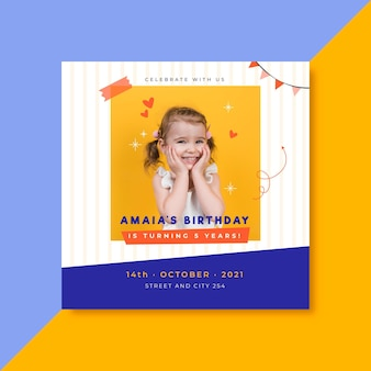Birthday invitation template for kids with photo