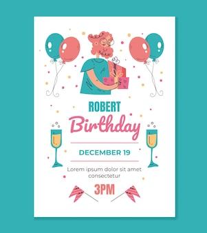 Шаблон макета приглашения на день рождения для печати