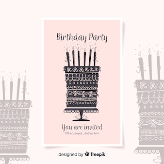 Birthday invitation template in watercolor style