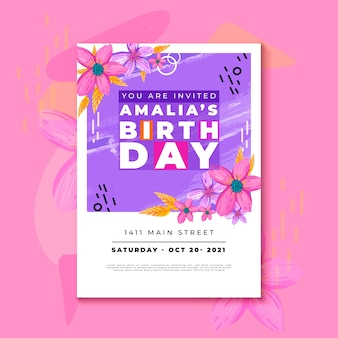 Birthday invitation template with colorful flowers