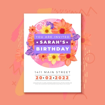 Birthday invitation template with colourful flowers