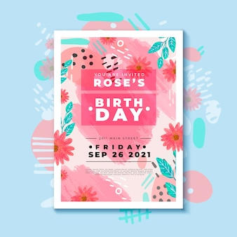 Birthday invitation template with different colorful flowers