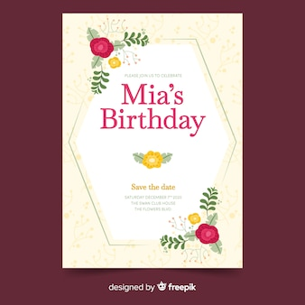 Birthday invitation template with floral design