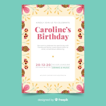 Birthday invitation template with floral style