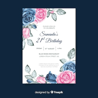 Birthday invitation template with floral theme