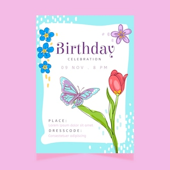 Birthday invitation template with flowers and butterfly