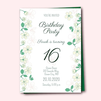 Birthday invitation template with flowers