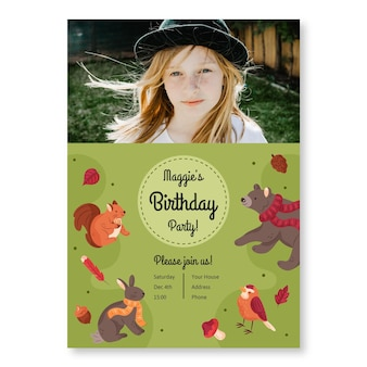 Birthday invitation template with forest animals and photo