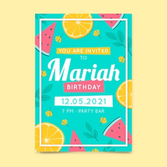 Шаблон приглашения на день рождения с фруктами