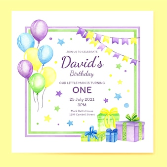 ギフトと誕生日の招待状のテンプレート