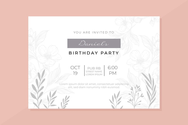Birthday invitation template with image
