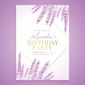 Birthday invitation template with lavender