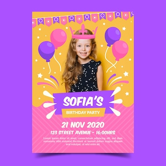 Birthday invitation template with photo for children