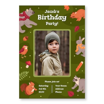 Birthday invitation template with photo and forest animals