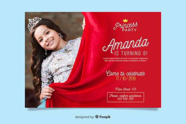 Birthday invitation template with photo for girl