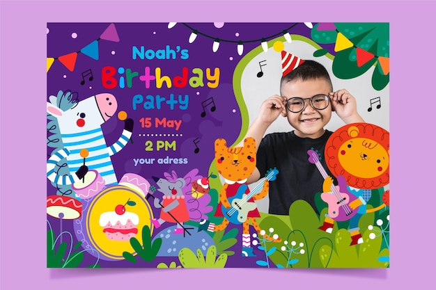Birthday invitation template with photo of little boy
