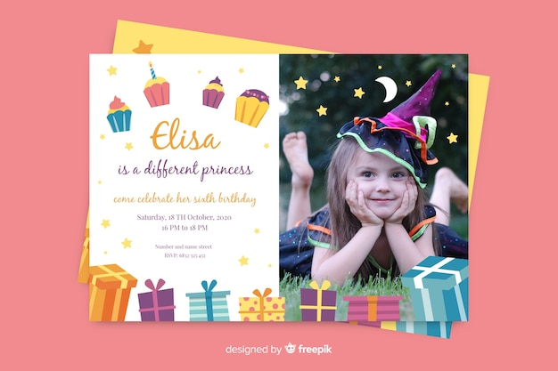 Birthday invitation template with photo