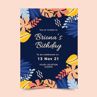 Birthday invitation template with tropical leaves