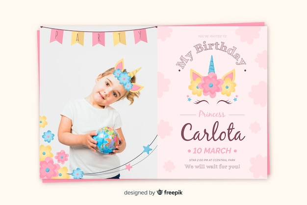 Birthday invitation template with young girl