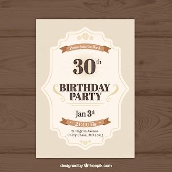 Birthday invitation in vintage style