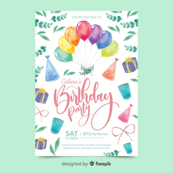 Birthday invitation in watercolour style