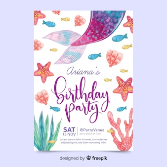 Birthday invitation in watercolour style Premium Vector