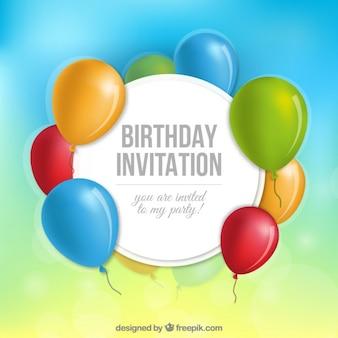 Birthday invitation with balloons